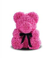Мишка из роз розовый из цветов