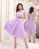 Шикарное женское платье с гипюровыми вставками красивым декольте и пышной фатиновой юбкой42, 44, 46, 48