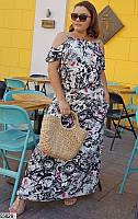 Свободное платье женское длинное легкое штапель 48-58 размеров, 4 цвета