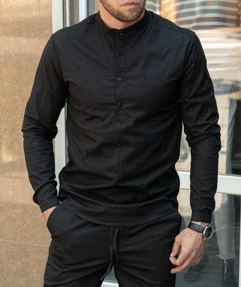 Чорна сорочка з коротким коміром.Size XXL