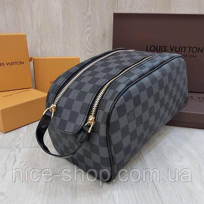 Барсетка Louis Vuitton серая в клетку, 2 молнии, фото 2