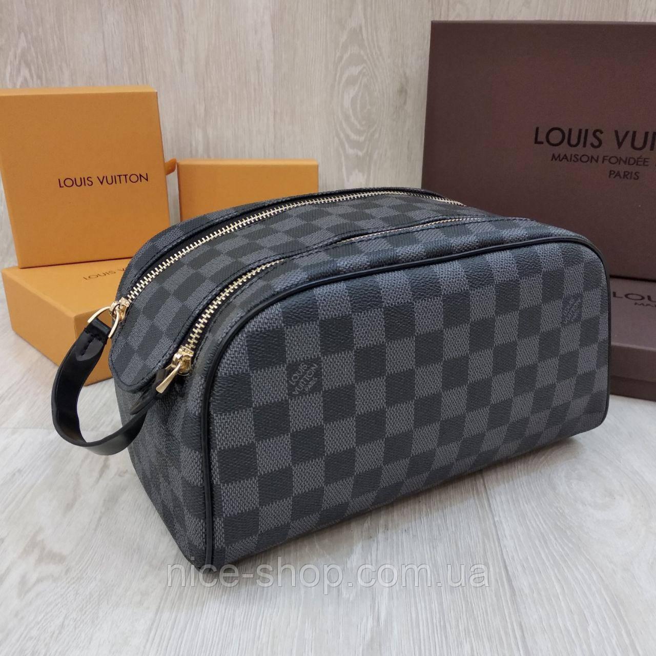 Барсетка Louis Vuitton серая в клетку, 2 молнии