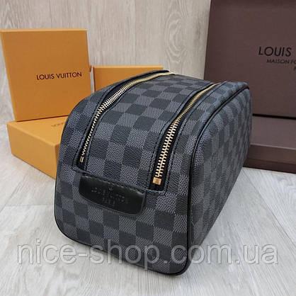 Барсетка Louis Vuitton серая в клетку, 2 молнии, фото 3