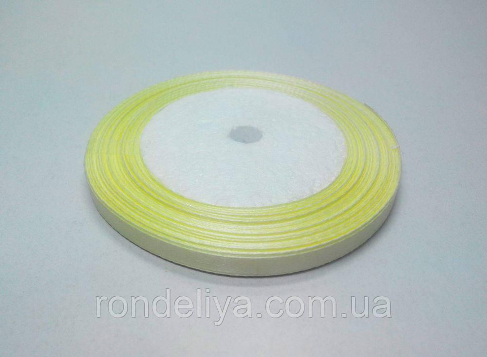 Стрічка атлас 0,6 см 23 метри жовта світла