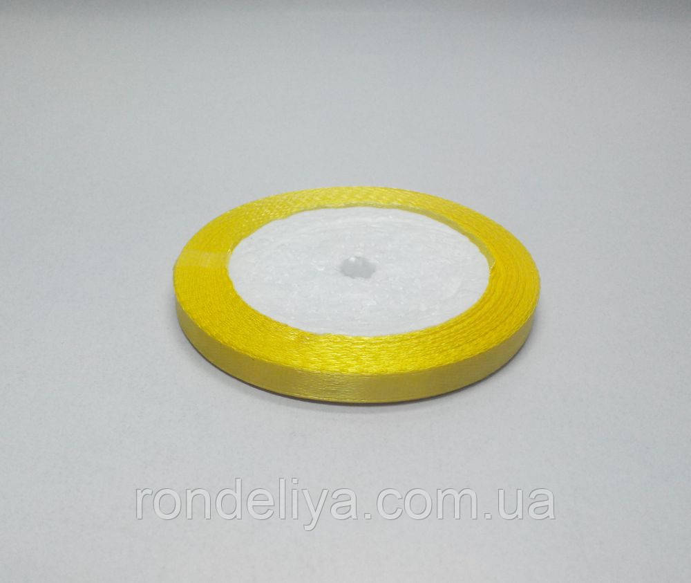 Лента атлас 0,6 см 23 метра желтая