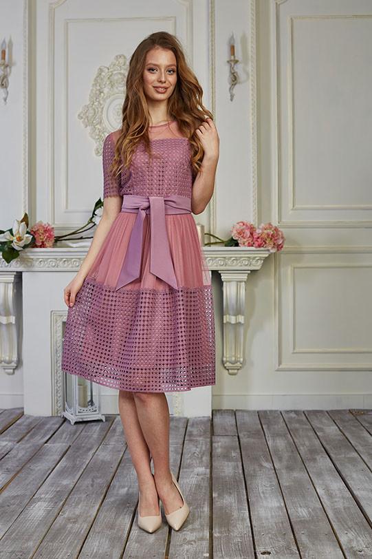 Платье для девушки очень красивое, юбка клешь, до колена, фрезовый цвет р.54 код 1949М
