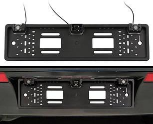 Рамка для номерного знака з камерою заднього виду і парктроником 3 в 1 UKC Black (5429)