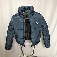 Короткая стильная куртка цвета джинс, размеры от 42 до 48