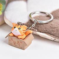 Брелок для ключей в виде кота в коробке милый  женский и детский «China Cat» (рыжий)