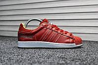 Кроссовки женские в стиле Adidas Superstar, натуральная кожа, текстиль код TD-8192. Красные