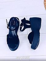 23,5 см Босоножки женские черные замшевые на высокой танкетке, из натуральной замши, натуральная замша, фото 1