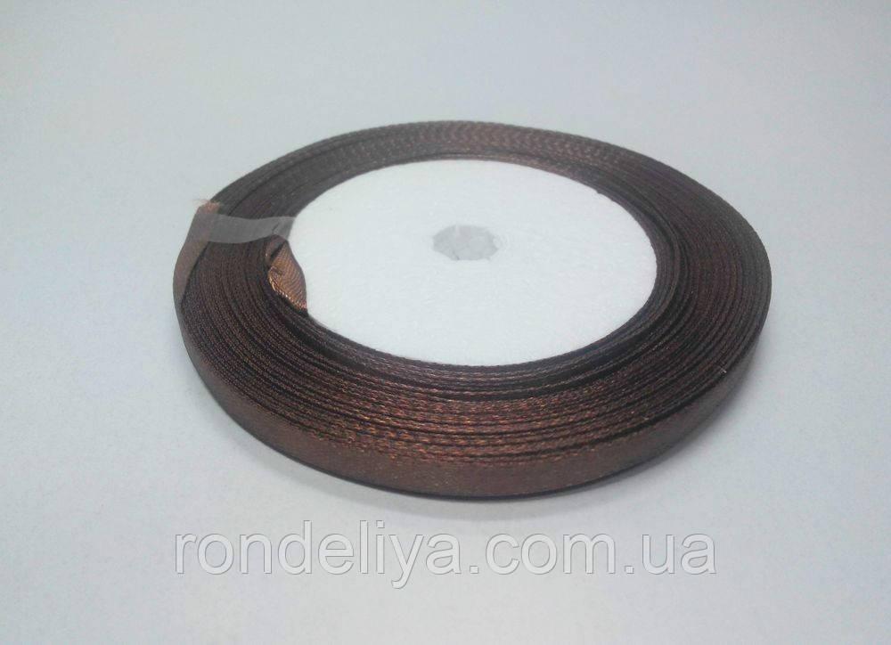 Стрічка атлас 0,6 см 23 метри коричнева