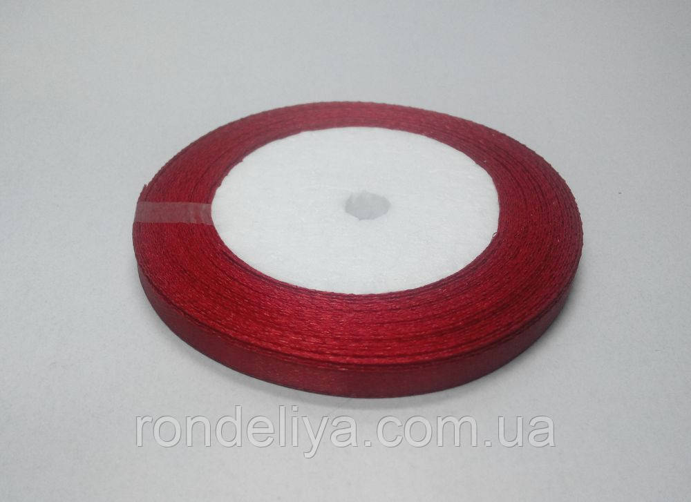 Лента атлас 0,6 см 23 метра красная