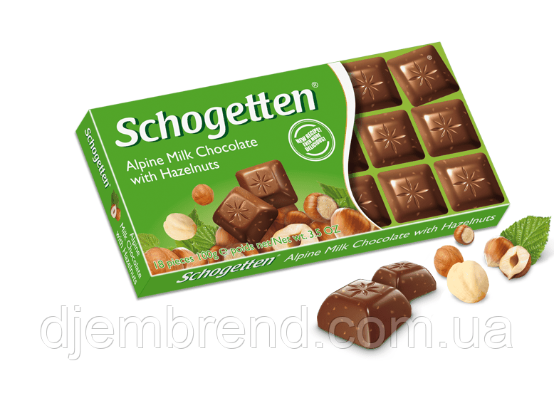 Шоколад Schogetten, Alpine Milk Chocolate with Hazelnuts, 100 г Германия