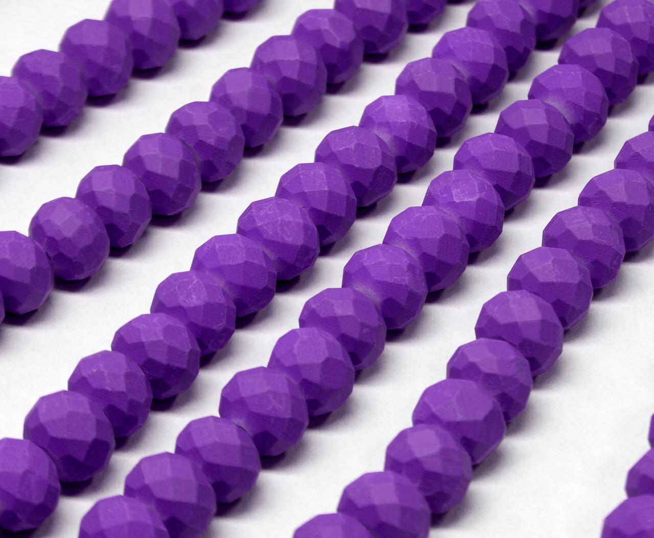 Бусины хрустальные (Рондель) 8х6мм  пачка - примерно 65 шт, цвет - матовый фиолетовый