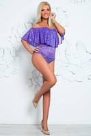 Боди фиолетового цвета с широким воланом, боди женское гипюровое, боди нарядное молодежное красивое