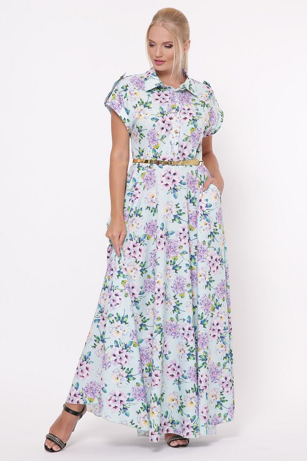 Молодежное платье макси в пол Алена гортензия мята (48-54)