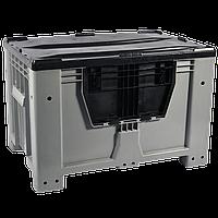 Пластиковый контейнер 1200 х 800 х 800 пищевой 510 л с откидной стенкой без колес, без крышки серый