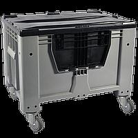 Пластиковый контейнер 1200 х 800 х 800 пищевой 510 л с откидной стенкой c колесами, без крышки серый