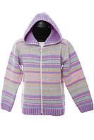 Жакет-куртка детская вязаная зимняя с капюшоном