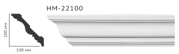 Карниз потолочный гладкий Classic Home HM-22100 , лепной декор из полиуретана