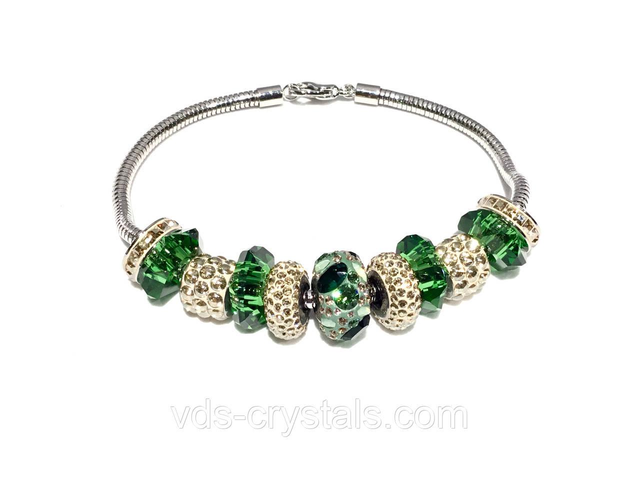 Браслет Pandora від Swarovski жіночий зелений мікс