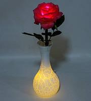 Сувенірна Роза в вазочці з LED-підсвічуванням LP-10 (нічник, світильник)