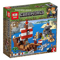 "Конструктор Lepin 18044 Minecraft ""Приключения на пиратском корабле"", 433 детали. Аналог Лего Майнкрафт 21152"