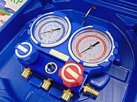 Манометрический коллектор двухвентельный VALUE VMG-2-R1234yf шланги 90 см + 2 автомуфты R1234yf ( Чемодан )
