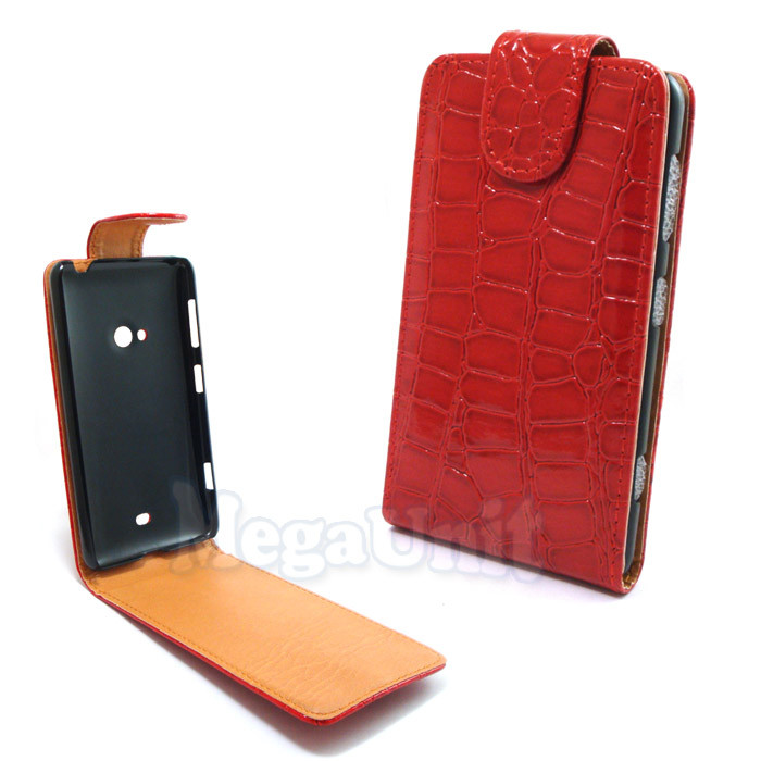 Откидной чехол-флип для Nokia Lumia 625 Croco Красный