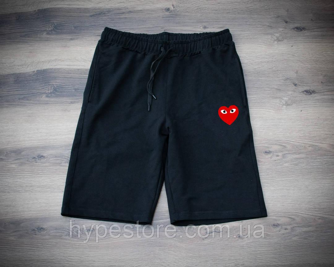 Мужские черные спортивные шорты, чоловічі шорти Comme Des Garcons, Реплика