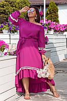 Женское асимметричное платье свободного крояр. 50-60
