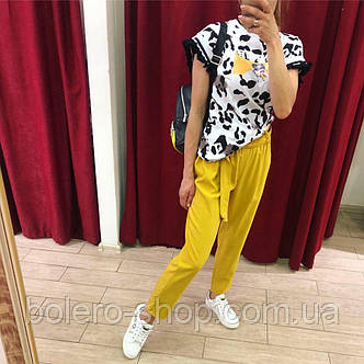 Женские штаны летние желтые Италия, фото 2