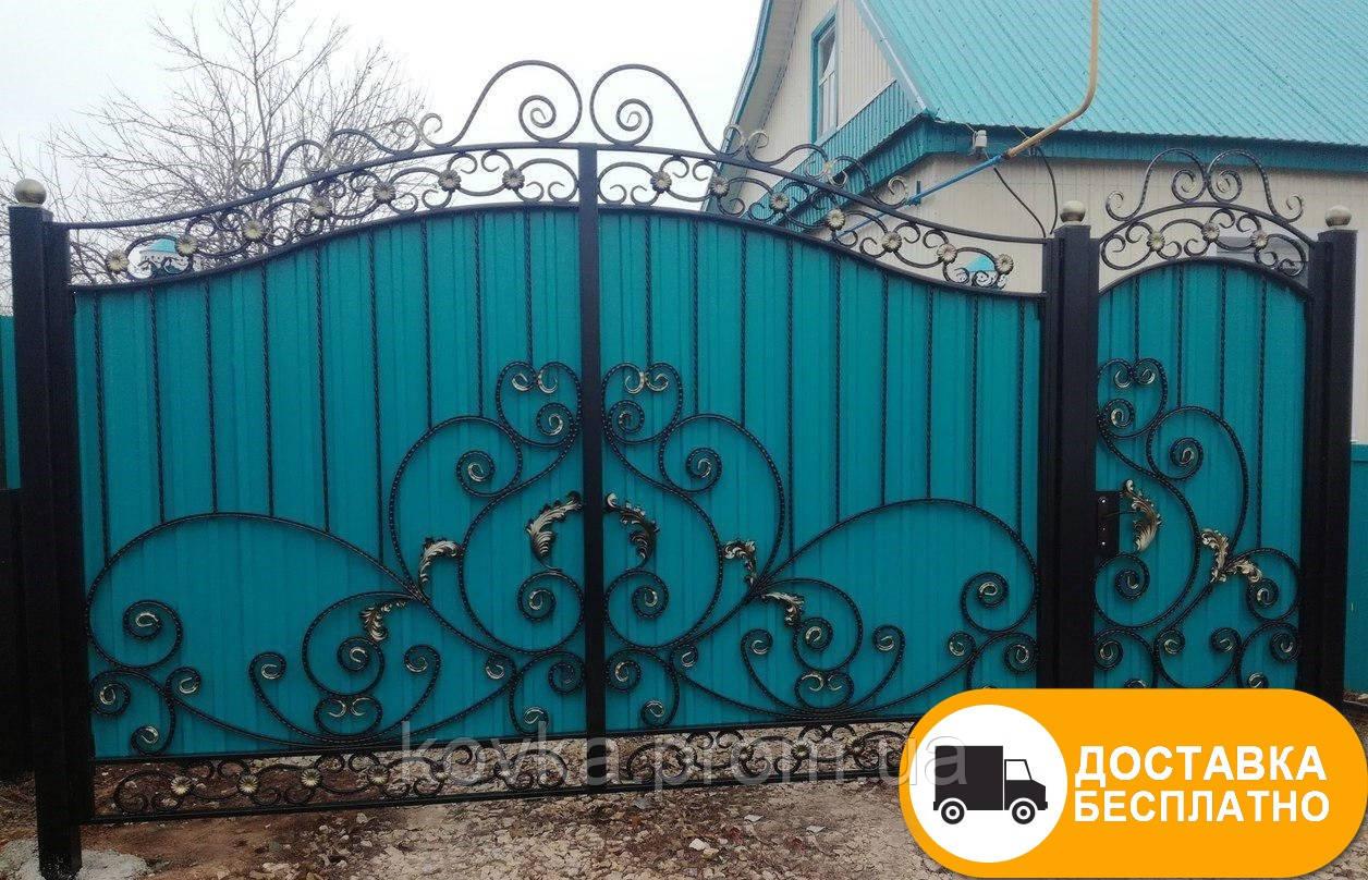 Распашные ворота с коваными элементами и профнастилом, код: Р-0177