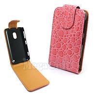 Откидной чехол-флип для Nokia Lumia 620 Croco Розовый