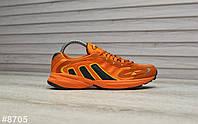 Кроссовки мужские Adidas Galaxy в стиле Адидас Гелекси, замша, текстиль код TD-8705. Оранжевые