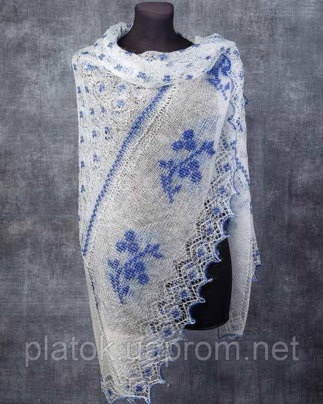 """Шаль вышитая """"""""Гжель"""""""" Ш-00051, белый,синяя вышивка, оренбургский платок (шаль) с вышивкой"""