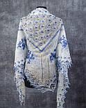 """Шаль вышитая """"""""Гжель"""""""" Ш-00051, белый,синяя вышивка, оренбургский платок (шаль) с вышивкой, фото 2"""