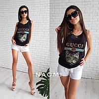 Майка женская летняя с модной надписью Gucci и котом разные цвета Sp140