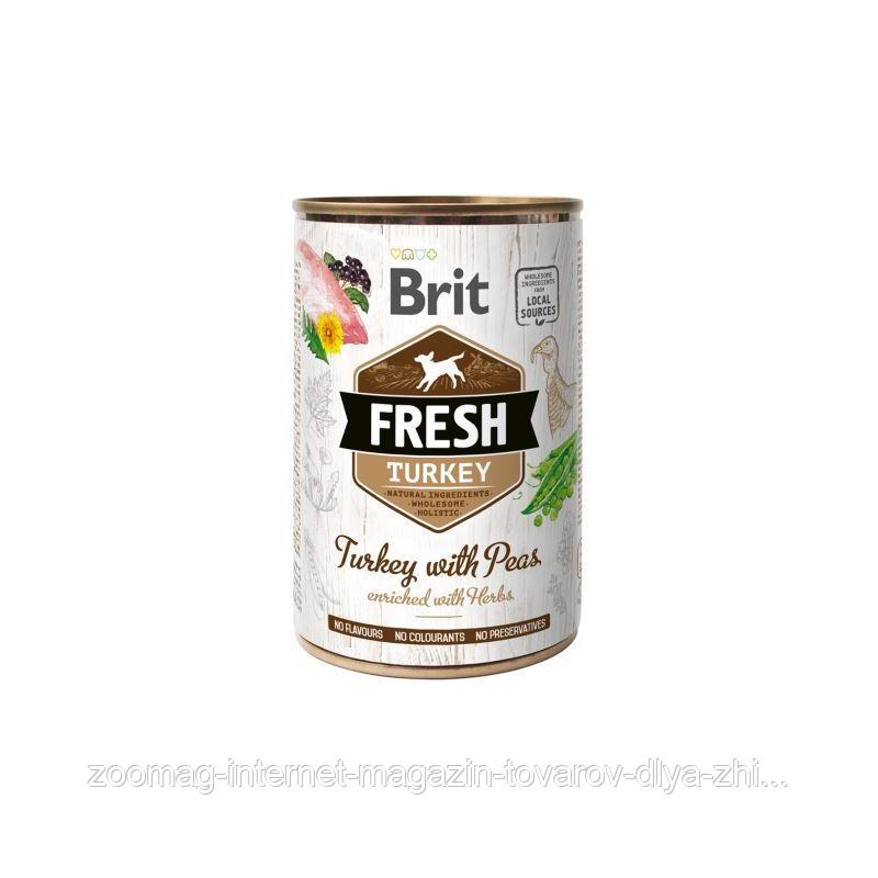 """Влажный корм Brit Fresh Turkey with Peas """"Свежая индейка с горошком"""" 9/6 (для взрослых собак), 400 гр"""