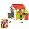 Детский домик Smoby с летней кухней 127cм + набор пирожных на подносе