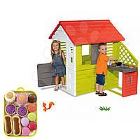 Детский домик Smoby с летней кухней 127cм + набор пирожных на подносе, фото 1
