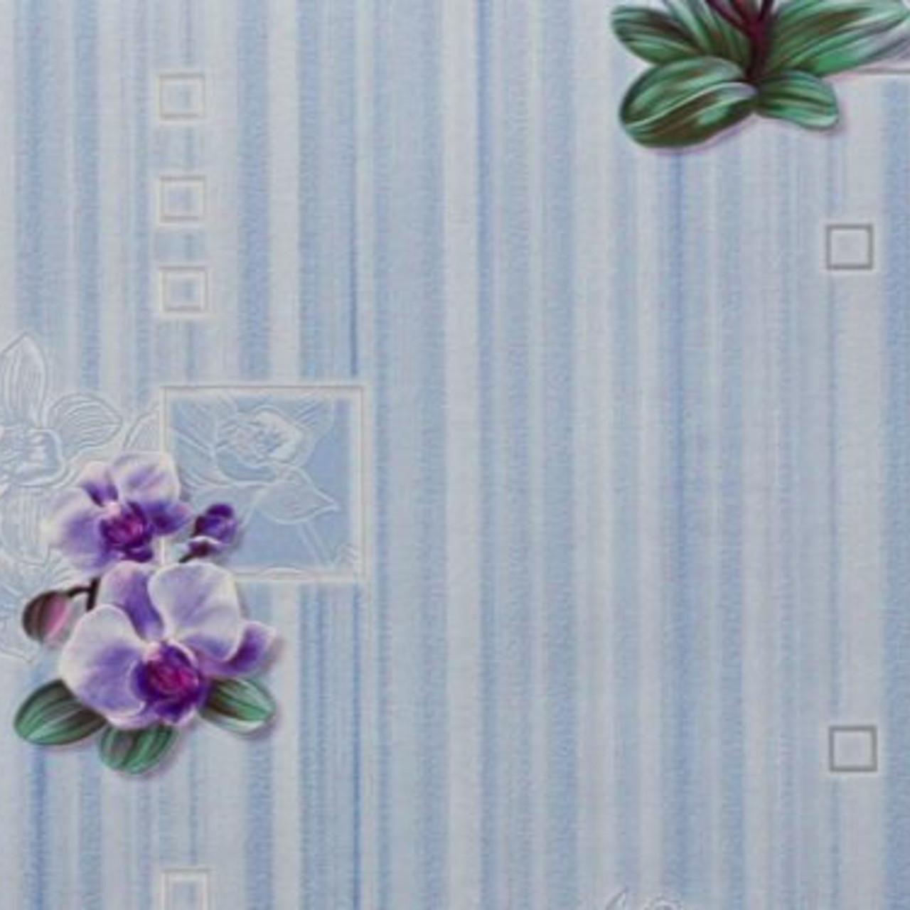 Обои, на стену, цветы, голубой, виниловые, B49.4  палома 867-03, орхидея, супер-мойка, 0,53*10м
