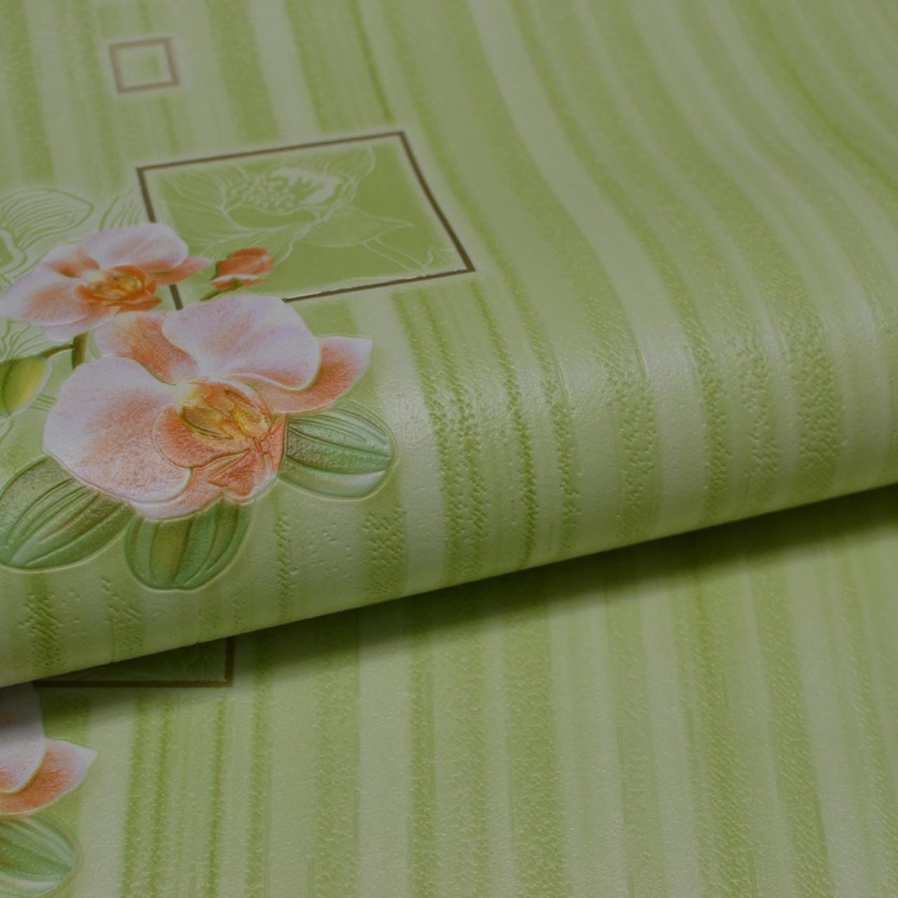 Обои, на стену, цветы, зеленые, виниловые, B49.4 Палома C867-04,супер-мойка, 0,53*10м, ограниченное количество