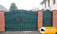 Кованые распашные ворота из профнастилом, код: Р-0180