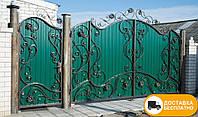 Кованые распашные ворота из профнастилом, код: Р-0182