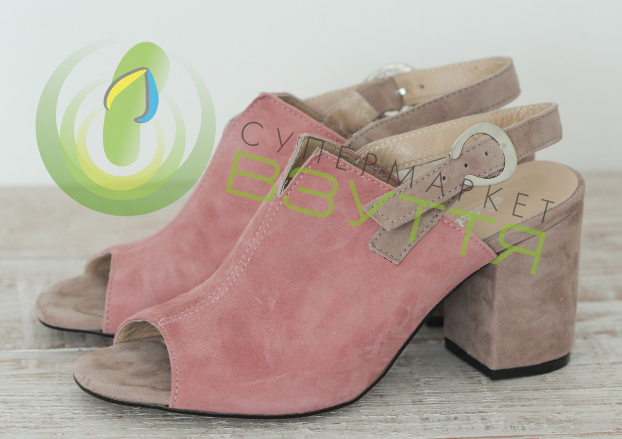 Замшевые босоножки на каблуке арт 2990 пудр  размеры 36,37