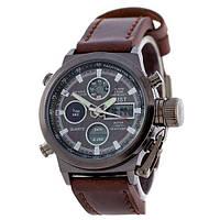 Часы наручные, мужские, реплика AMST Black-Brown Wristband