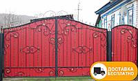 Ворота с калиткой из профнастилом, код: Р-0183, фото 1