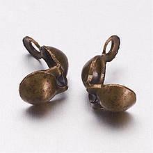 Каллоты зажим для лески/нитки 7х4мм бронза для рукоделия
